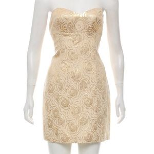 Tibi Metallic Floral Strapless Cocktail Dress